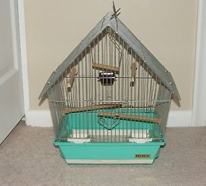 Vtg Hoei Hanging Table Top Metal Bird Cage House Retro Blue Green Accessories