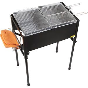 Outdoor Triple Basket Deep Fryer Cooking Propane Stainless Steel Cast Iron New