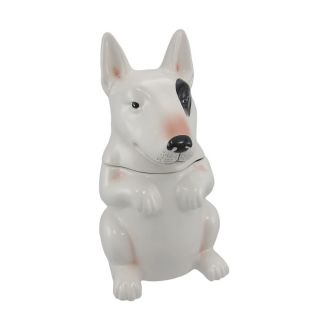 Little Beggar Bull Terrier Dog Ceramic Cookie Jar Treats