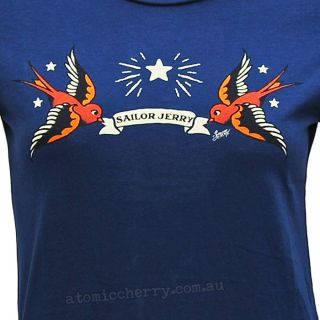 Sailor Jerry Women's Capistrano Swallow T Shirt Tattoo Flash Rockabilly Retro
