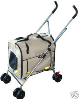 New 4 in 1 Pet Dog Cat Stroller Carrier House Car Seat Beige