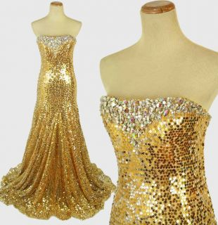 Tony Bowls Gold Sequin Gown