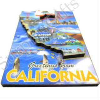 California Map Souvenir 3D Wood Fridge Magnet