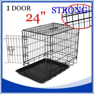 "48"" Large 2 Two Door Folding Wire Pet Cat Dog Crate Cage Kennel Pet Supplies"