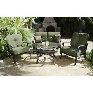 Biltmore 4 Piece Patio Conversation Set Aluminum Frame All Weather Cushions