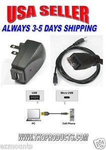 USB Wall Outlet Charger Adapter w 10ft USB to Micro USB HTC EVO View 4G