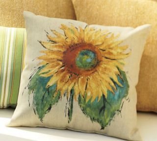 "Pottery Barn Painted Sunflower Indoor Outdoor Pillow 20"" Square New"
