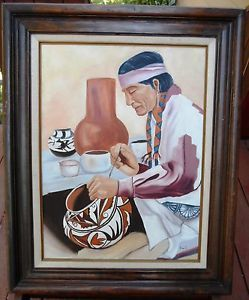 Native American Indian Pottery Painting Culture Fine Art Signed Emily Dozier