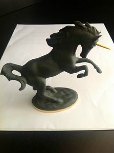 Black Matte Unicorn Figurine The Franklin Mint Retired Extremely RARE