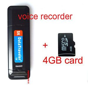 Mini Spy Ear Voice Sound Recorder Bug USB Flash Drive 4GB TF Card
