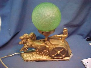 1920s Roman Chariot Figural Art Deco Lamp with Green Glass Brain Globe Shade