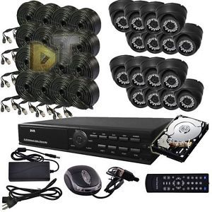 DNT 16CH Channel Video Surveillance CCTV DVR Color Camera Security System 1TB