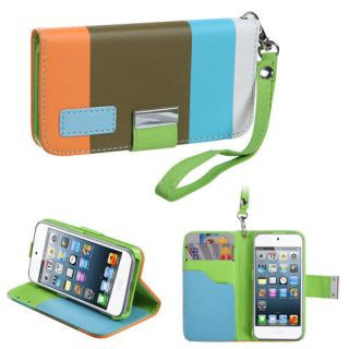 iPod Touch 5g 5th Gen Blue Green White Card Pouch Book Style Leather Wallet Case