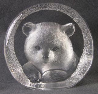 Mats Jonasson Signed Lead Crystal Sculpture Baby Bear Paperweight Sweden 1992