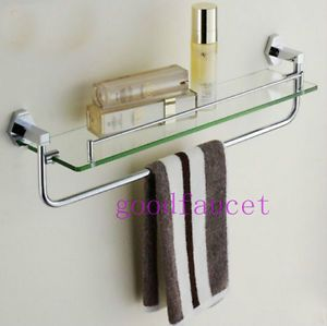 New Chrome Brass Bath Wall Mounted Shower Caddy Cosmetic Glass Shelf w Towel Bar