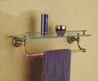 Antique Brass Wall Mounted Bath Shower Caddy Cosmetic Glass Shelf w Towel Bar