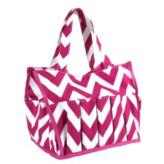 Chevron Fuchsia Pink Organizer Caddy Cosmetic Reusable Nurse Bag Shower Tote