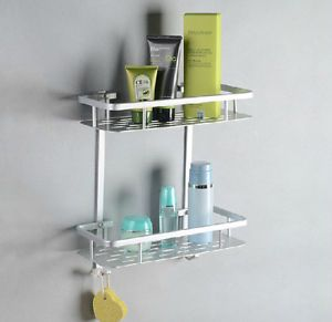 Alumimum Dual Tier Square Wall Mount Shower Caddy Basket Cosmetic Storage