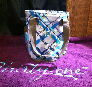 Thirty One Round About Caddy Shower Tote Fall Catalog New Sea Plaid Pattern