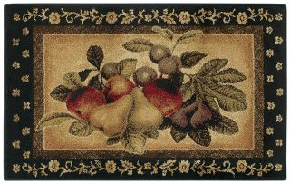 "Shaw Multi 3x5 Kitchen Apples Pears Grapes Vine Area Rug Approx 2' 6"" x 4' 2"""
