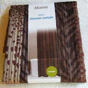 Safari Zebra Leopard Animal Print Sheer Shower Curtain Chocolate Brown Tan New