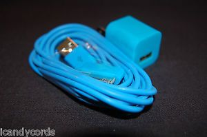 Blue iPhone Color 6 Foot Long Cord Wall Charger Block Phone 4 4S Six Plug