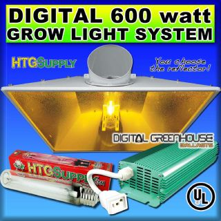 Digital 600W HPS Grow Light 600 Watt Sodium System w Hood AC Ballast Air Cooled