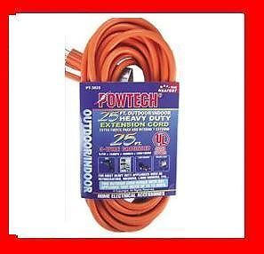25' Foot Outlet Electrical Extension Power Cord