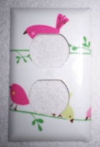 Penelope Bird Switchplate Outlet Made with Pottery Barn Kids Pink Green Fabric