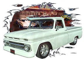 1965 White Chevy Pickup Truck Custom Hot Rod Diner T Shirt 65 66 64 Muscle Car T