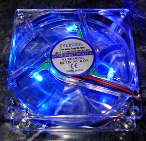 EverCool 80mm x 80mm x 25mm 3 Pin Blue LED Fan Bulk Packaged with Screws