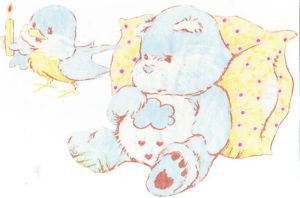 "8"" Vintage Grumpy Bear Care Bears Large Wall Safe Fabric Decal Set Cut Outs"