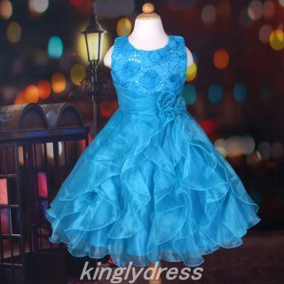 New Flower Girl Pageant Wedding Bridesmaid Party Dancing Dress Blue SZ 6 7 T1070
