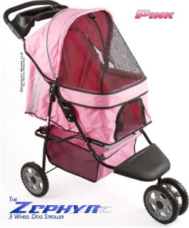 New Zepher Pink 3 Wheel Dog Cat Stroller Carrier Pet Strollers PS 01 PK V2