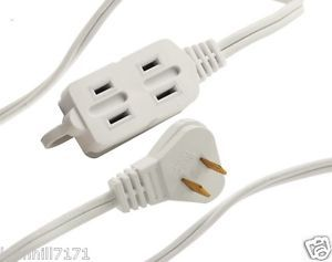 Axis UCU101P UCU101R 3 Outlet White Wall Hugger Indoor Extension Cord 6ft