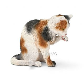 Schleich 13675 Calico Cat Grooming Model Toy Animal Figurine Replica NIP