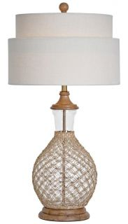Sawgrass Table Lamp Woven Sea Grass Glass Wood Natural Linen Shade Couture
