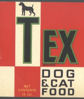 Original Tex Dog Cat Canine Food Vintage Can Label not A Copy