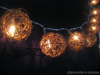 20 Natural Brown Wicker Rattan Ball Battery Operated LED String Fairy Lights New