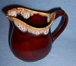 Vtg Looking Drippy Brown Stoneware Pottery Milk Pitcher 2 Cups Small Med Glossy