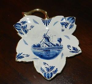 Antique Vintage Hand Painted Delft Blue and White Dutch China Windmill Leaf Dish