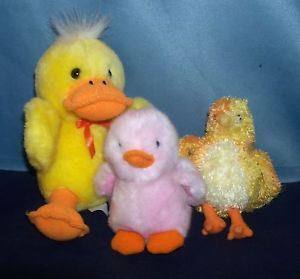 Plush Yellow Duck Russ Waddles Ty Beanie Chickie Chicken Stuffed Animals