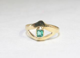 Estate 18K Yellow Gold Emerald Ring A75