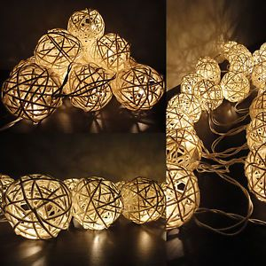 20 White Handmade Rattan Balls Fairy String Lights Wedding Party Home Decor