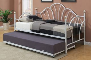 New Amory White or Black Finish Metal Four Post Twin Day Bed w Trundle