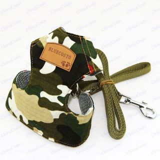 Army Camouflage Mesh Girth Harness Vest Leash for Dog Cat Monkey Pet Supplies