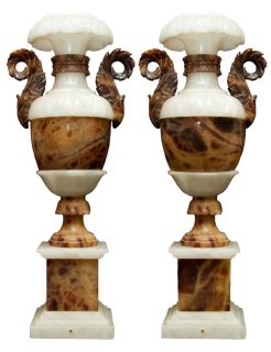 "Pair 30"" Tall White Brown Onyx Stone Table Lamps"