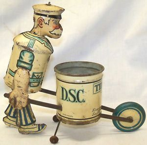 RARE Old 1930s Louis Marx Tin Litho Tidy Tim Street Sweeper Clean Up Wind Up Toy