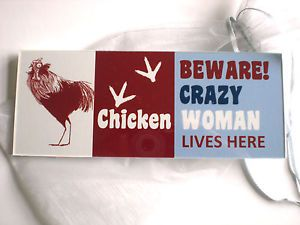 Funny Crazy Chicken Woman Plaque Sign Hen Coop House Run Garden Door Eggs Gift