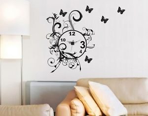 Butterfly Flow Clock Wall Decor Vinyl Decal Sticker Art
